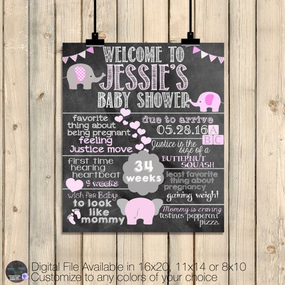 Baby Girl Baby Shower Chalkboard Sign