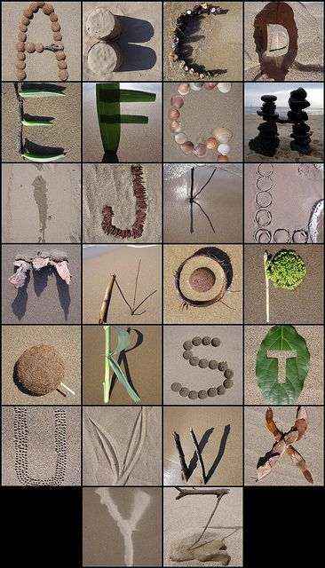 Mae a natural alphabet! It would be fun to go on a hike with a camera and try to capture find/make every letter with the kiddos!