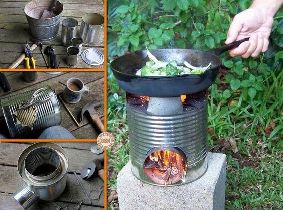 Estufas cohetes latas and cohetes on pinterest for Tin can rocket stove