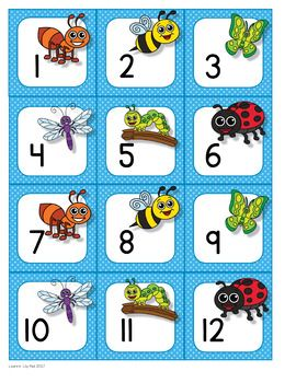 Insect themed calendar set with three sets of cards for three pattern choices. Also has month headers, days of week, and seasons.