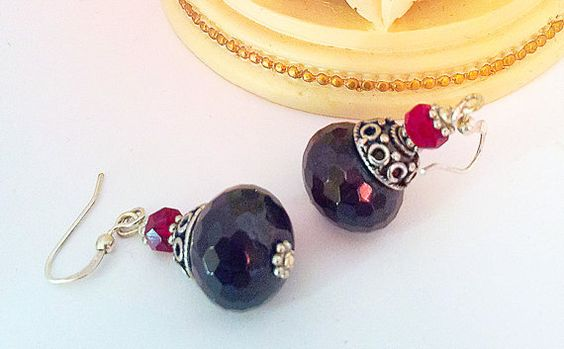 Free shipping.Natural Stone Garnet,Czech  Crystals earrings.Shades of red by emeliebeads. Explore more products on http://emeliebeads.etsy.com