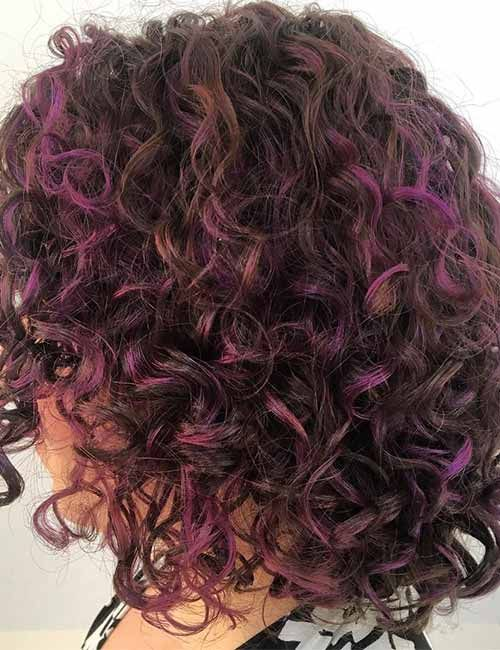 20 Pretty Purple Highlights Ideas For Dark Hair Purple Highlights Brown Hair Curly Purple Hair Purple Hair Highlights