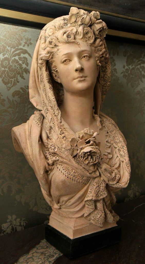 Albert-Ernest Carrier-Belleuse,  Marguerite Bellanger the lace scarf with roses, 1866, Paris, Musée Carnavalet, terracotta