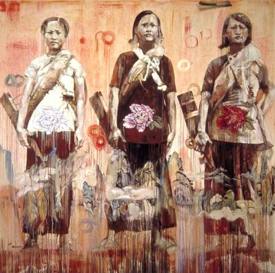 Three Graces, Hung Liu, Oil on canvas www.transitionresearchfoundation.com