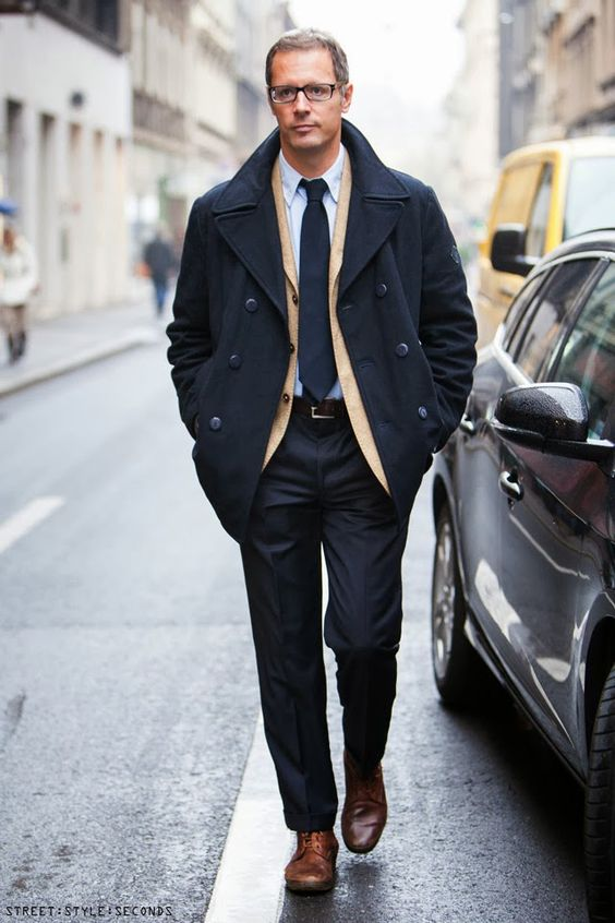 Man in elegant navy pea coat mans winter 2013 fashion coats | men