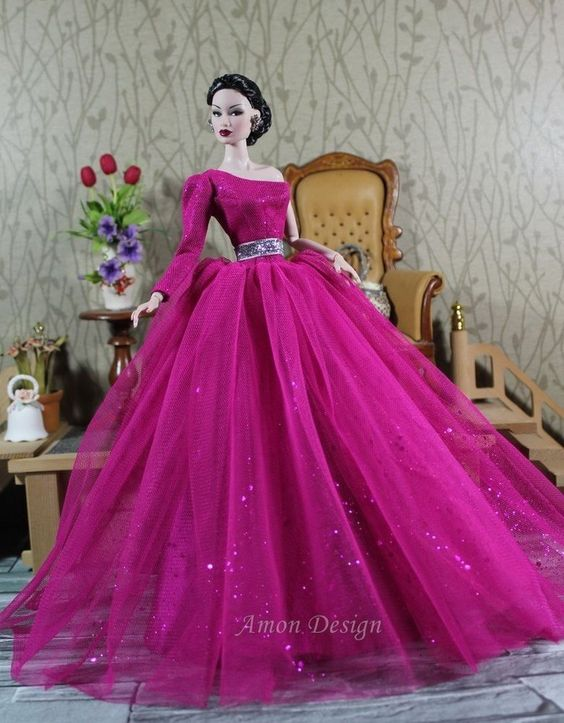 fashon doll, Amon Design Gown Outfit Dress Fashion Royalty Silkstone Barbie Model Doll FR