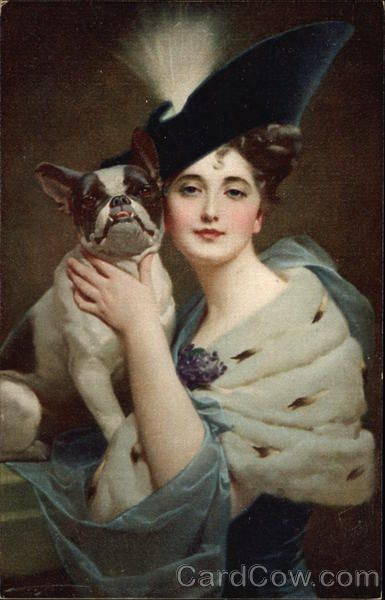 Glamour Woman, Fancy Hat and Bulldog
