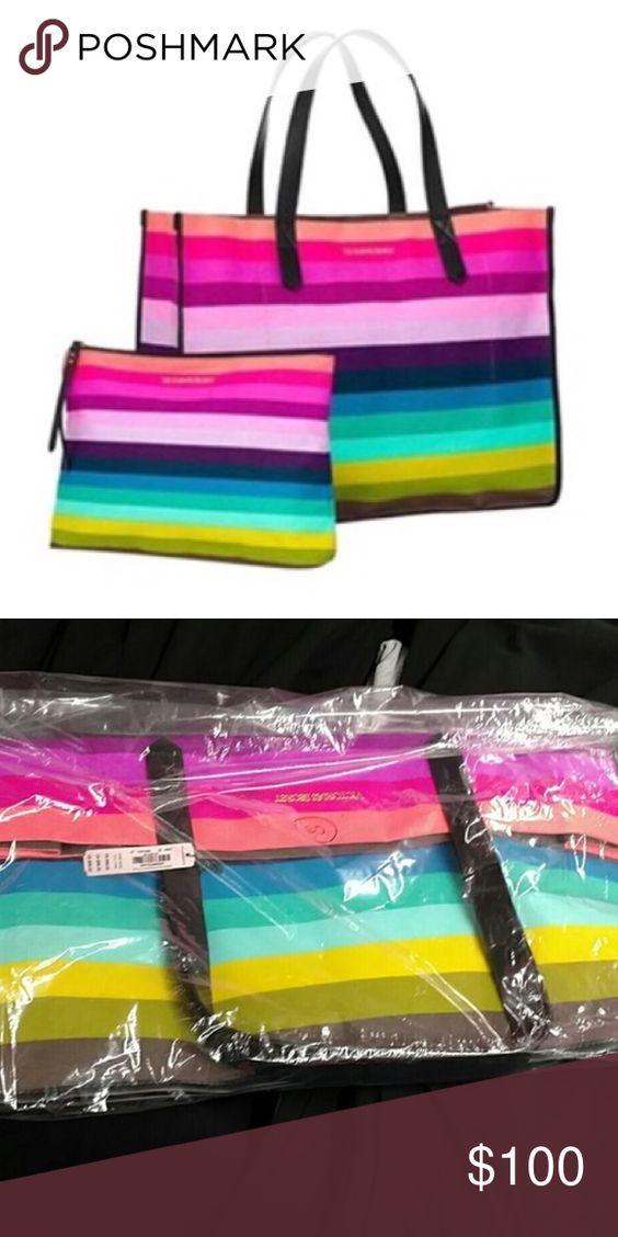 Victoria's Secret Rainbow Tote and Clutch Bundle-A NWT Victoria's Secret Bags Totes