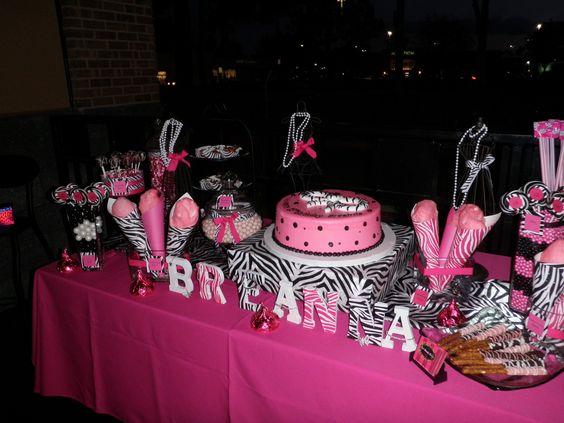 zebra and pink candy buffet   Zebra & Hot Pink Candy Buffet