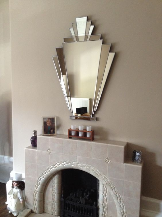 Our Babushka Art Deco Mirror over a beautiful, original fireplace: Customer's Comments: I would just like to say I love my mirror, I would like to thank you for you service and I have sent on photos of the mirror in it's pride of place above my art deco firepalce. Kind Regards, Margaret Glasgow)