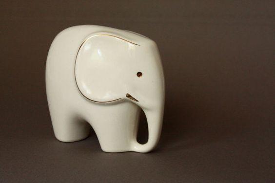 mid century modern porcelain elephant figurine.  i love you.