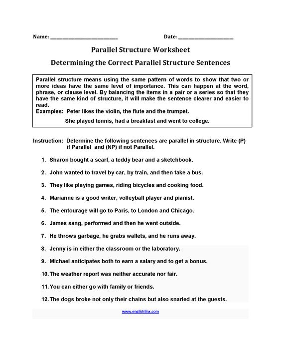 Determining Parallel Structure Worksheets – Parallel Structure Worksheet