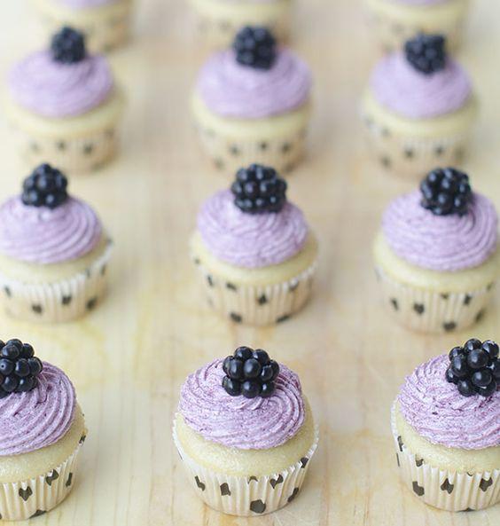 Mini Vegan Vanilla Cupcakes with Blackberry Frosting