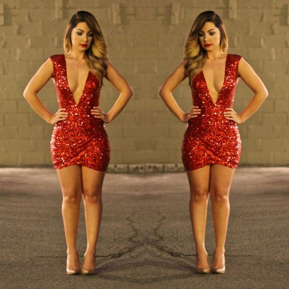 Vegas outfit glamour hot outfit red dress sequence sparkles hot dress | Hot outfit ...