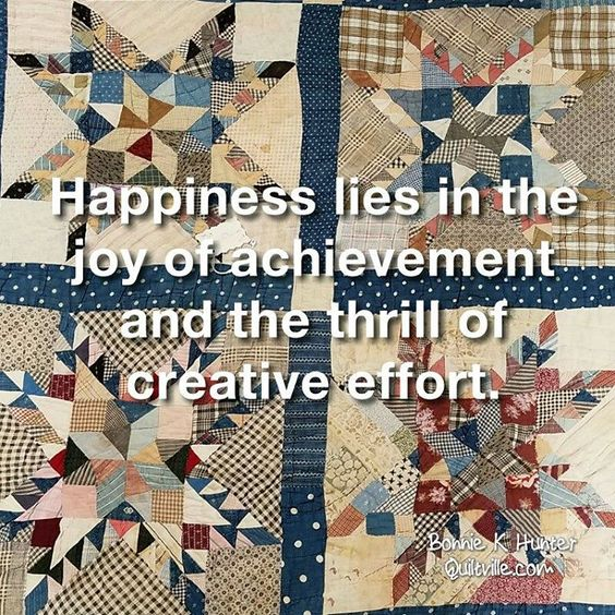 Or in other words, I am happiest when I am busy cutting up fabric and sewing it back together! Feathered star found in North Carolina. . . #quilt #quilting #patchwork #quiltville #bonniekhunter #vintagequilt #antiquequilt #deepthoughts #wisewords #wordsofwisdom #quiltvillequote #quote #inspiration #scrapquilt #featheredstar #featheredstarquilt