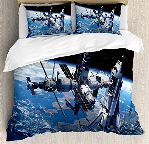 Outer Space Twin Bedding Duvet Cover Set 4 Piece Hotel Quality Luxury Soft Brushed Microfiber Space Shut Duvet Cover Sets Decorative Duvet Cover Duvet Covers