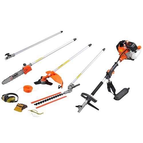 Kiam Sherwood 58 Petrol 5 In 1 Multi Tool Long Reach Hedge Trimmer Strimmer Pruner Chainsaw Brush Cutter Extension Pole 2 Stroke 58cc Pruners Hedge Trimmers Extension Pole