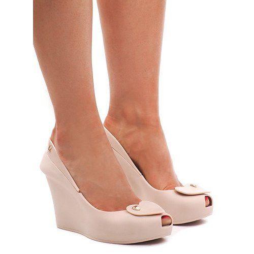 Meliski Na Koturnie Odkryte S31 Bezowy Shoes Wedges Fashion