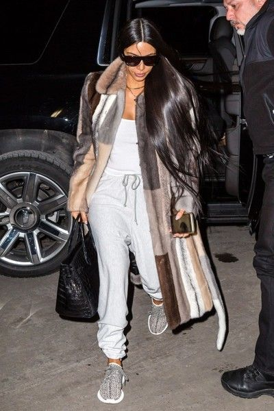 TV personality Kim Kardashian touches down to be with her husband Kanye West while he is preparing for his fashion show in New York City, New York on February 13, 2017.