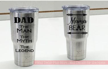 DAD the MAN and Mama Bear Vinyl Sticker Set- an easy DIY couples gift!