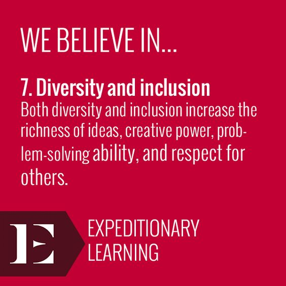 """Both diversity and inclusion increase the richness of ideas, creative power, problem-solving ability, and respect for others."" Learn more about the design principles here: http://elschools.org/educator-resources"