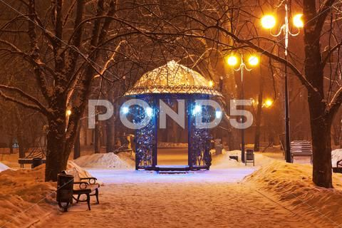 Decorated Winter City Park At Night Stock Image 12534221 Winter City Park City Christmas Wallpaper Free
