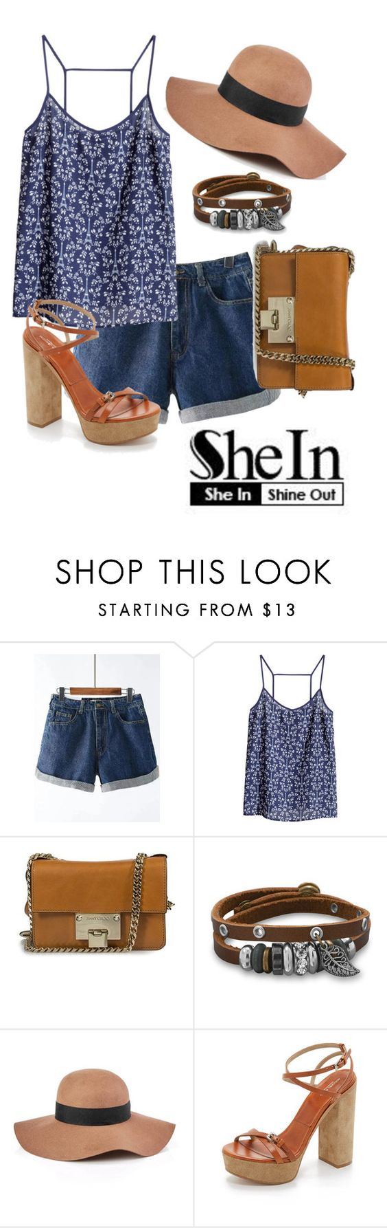 """""""Denim Shorts - SheIn"""" by arimagedesign ❤ liked on Polyvore featuring H&M, Jimmy Choo, BillyTheTree, Reiss and Michael Kors"""
