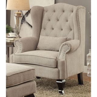 Tufted Upholstered Armchair with Nailhead Trim | Overstock.com Shopping - The…