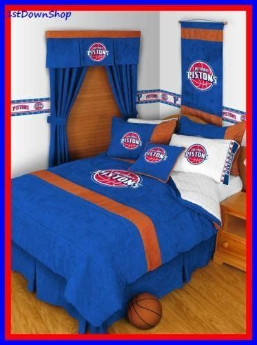 Detroit Pistons 5pc MVP Full Comforter/Sheets Bed Set by NBA. $132.99. Includes: 1- Full Size Comforter, 1- Flat Sheet, 1- Fitted Sheet & 2- Pillowcases.. MVP Bedding:  The MVP Collection Bedding is a sports logo bedding line that is unique in its appeal to both young and more mature tastes, sporting bold team colors with a jersey stripe.  The best part of this NEW look is its ultra soft and washable micro suede 100 percent polyester fabric which is perfect for bedding...