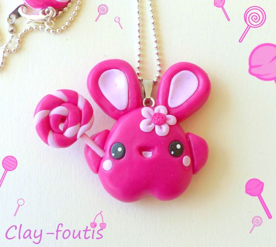 Collier fimo kawaii geek petit lapin rose fushia et sa sucette lollipop. : Collier par clay-foutis