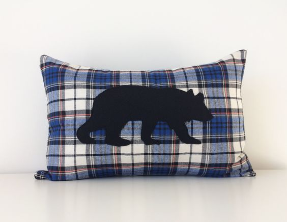 Modern Moose Pillows : Bear Silhouette Pillow Cover, 12x18, Grizzly Bear Pillow, Plaid Flannel Modern Cushion Cover ...