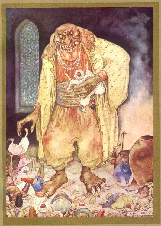 Anton Pieck - The giant who plans to eat Sindbad. 1001 Nights