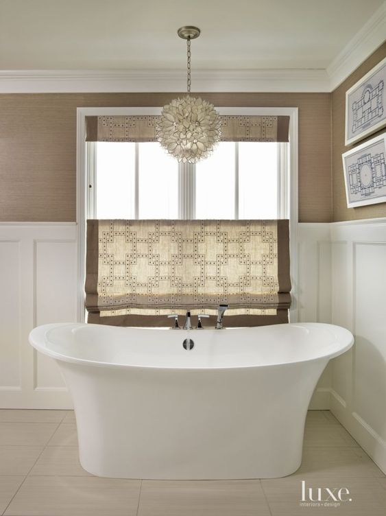 Contemporary brown bathroom with wainscoting grass cloth for Modern bathroom window ideas