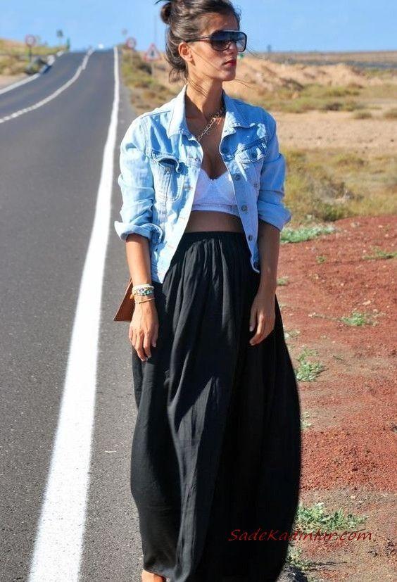 Bayan Kot Ceket Kombinleri Siyah Uzun Klos Etek Beyaz Dantel Bustiyer Mavi Kot Ceket Moda Stilleri Kot Ceket Kadin Kiyafetleri