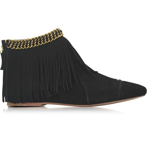 Jerome Dreyfuss Shoes Francoise Black Suede Low Boot w/Fringe (£195) ❤ liked on Polyvore featuring shoes, boots, ankle booties, black, suede boots, suede flats, black suede booties, black suede boots and fringe boots