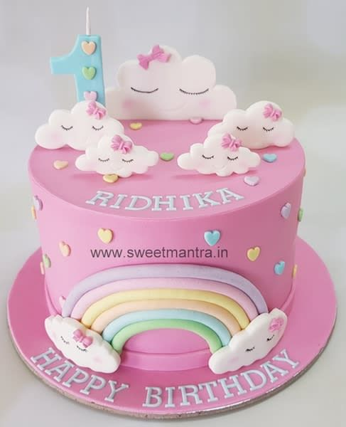 Clouds Theme Fondant Cake For Girls 1st Birthday By Sweet Mantra Customized 3d Cakes Designe Cute Birthday Cakes Baby Girl Birthday Cake Girly Birthday Cakes