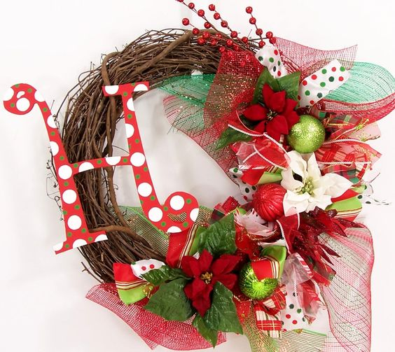 Monogram letters monograms and wreaths on pinterest for Alphabet christmas wreath