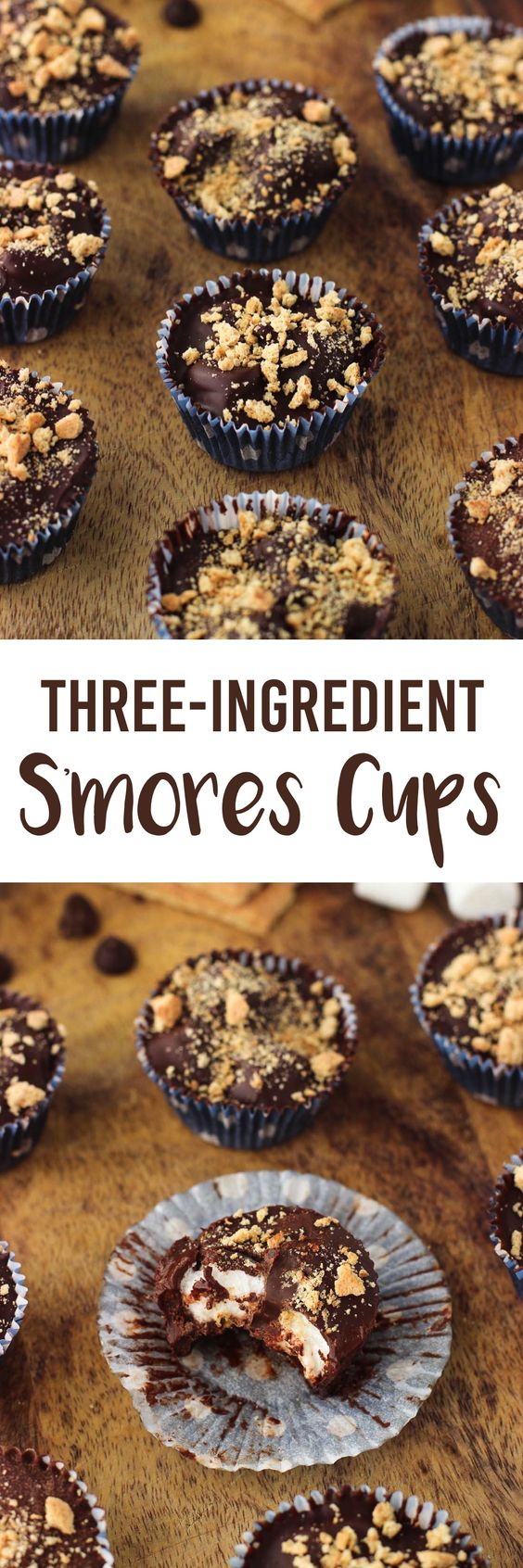 This recipe for three-ingredient S'mores Cups are an easy chocolate candy just perfect for holiday dessert trays or gift giving!