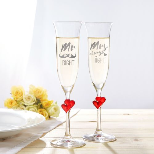 Herzen Sektglaser Mr And Mrs Right Geschenke Mit Gravur