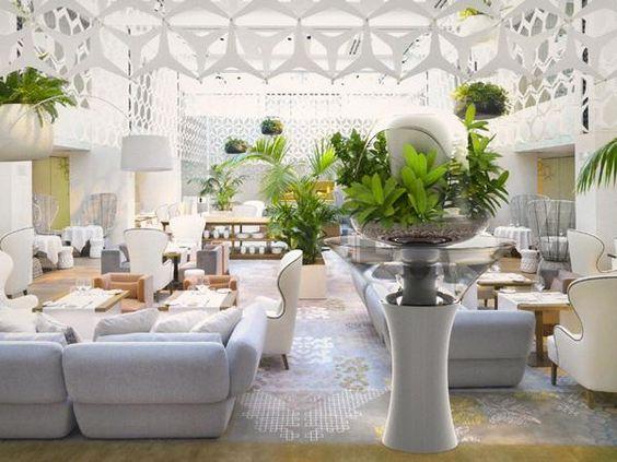 Grün Sichtschutz-modern hotel foyer indoor garten-ideen - indoor garten wohlfuhloase wohnung begrunen
