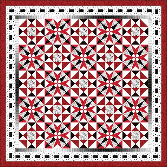 Emerald Isles by Nancy Mahoney in red shown in a quilt setting. It's block #620 in Quiltmaker's 100 Blocks Volume 7, out by May 7. http://www.quiltmaker.com/blogs/quiltypleasures/