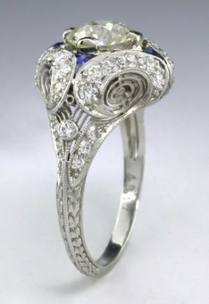Platinum Art Deco Ring w/Old European Diamond & Sapphire