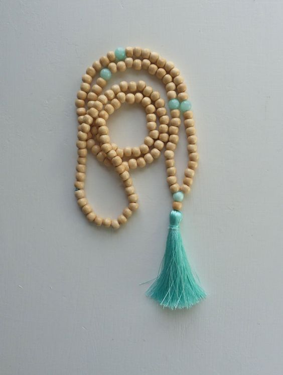 yoga by the sea  - mint aqua tassel necklace - beach boho yoga necklace - inspired by buddhist mala prayer beads necklace on Etsy, $26.43 AUD
