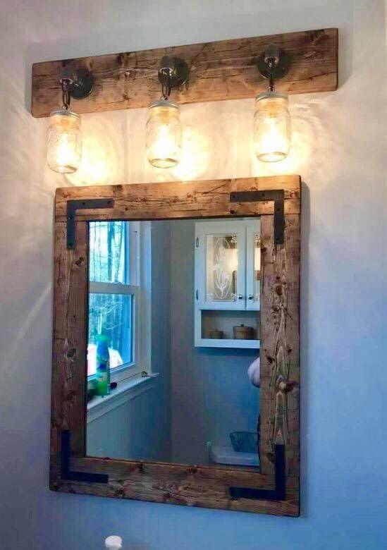 Rustikales Badezimmer Set Handgefertigte Badezimmer Dekor Spiegel