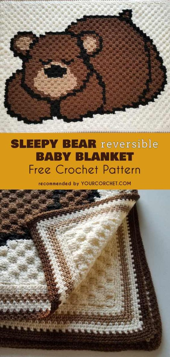 Sleepy Bear Reversible Baby Blanket Free Crochet Pattern   Your Crochet C2C blanket #freecrochetpatterns #babyblanket #crochet4baby