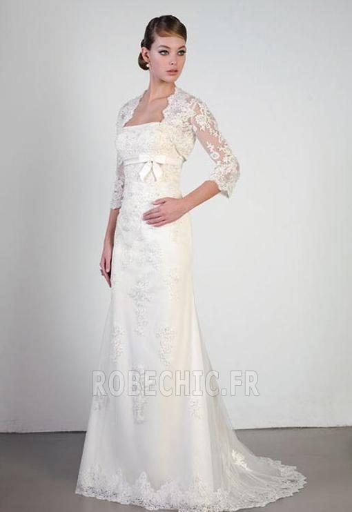 Robe de mariée Col Élisabéthain Milieu Naturel taille Romantique