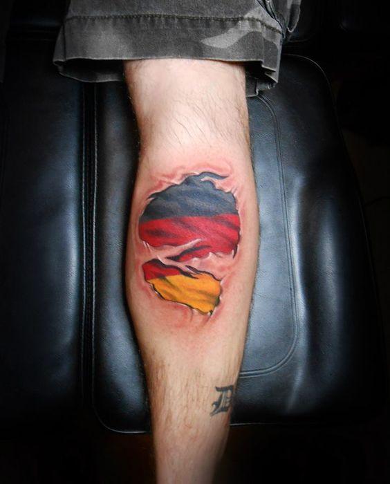 Scottish Themed Tattoos: German Flag Skin Rip By Chad Jacob. Follow Him On