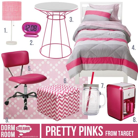 Pretty Pinks Dorm room inspiration from Target #target #  ~ 132407_Dorm Room Design Target
