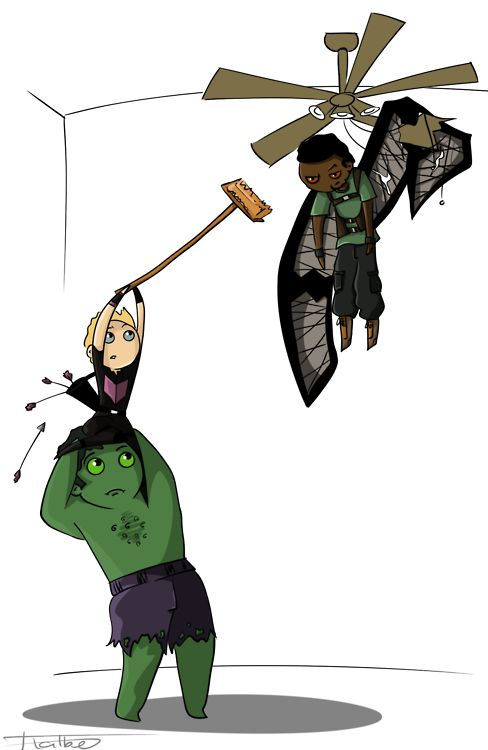 """Hulk, Hawkeye and The Falcon - just hanging out. """"Hulk sick of new Bird Friends."""""""