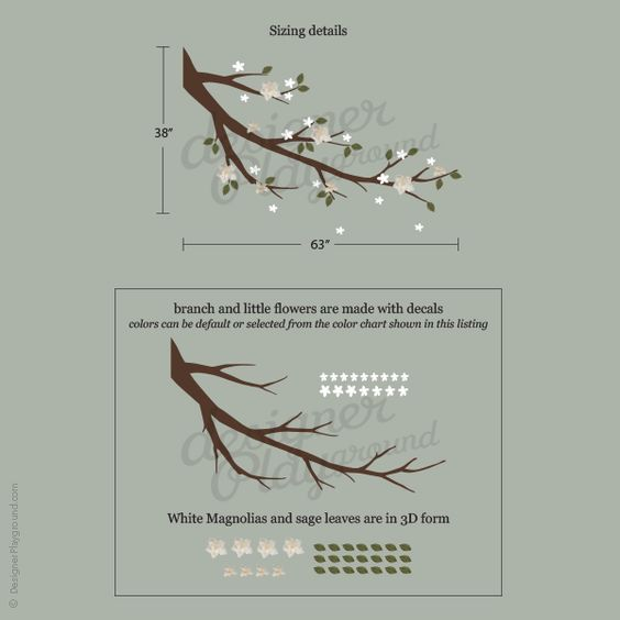 Magnolia Branch with 3D Flowers & Leaves - $79.00